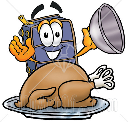 Clipart-Picture-Of-A-Suitcase-Cartoon-Character-Serving-A-Thanksgiving-Turkey-On-A-Platter